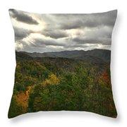 Smoky Mountain Autumn View Throw Pillow