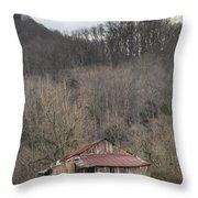 Smoky Mountain Barn 1 Throw Pillow