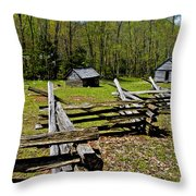 Smoky Mountain Cabins Throw Pillow
