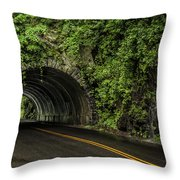 Smoky Mountain Tunnel In The Rain E123 Throw Pillow