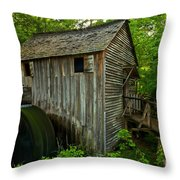 Smoky Mountains Grist Mill Throw Pillow