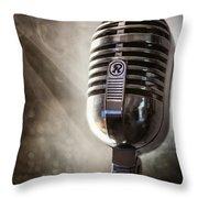 Smoky Vintage Microphone Throw Pillow