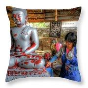 Smoothing Buddha Throw Pillow