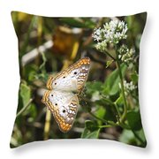 Snack For A White Peacock Butterfly Throw Pillow