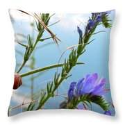 Snail On Flowers Throw Pillow