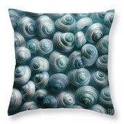 Snails Cyan Throw Pillow by Priska Wettstein