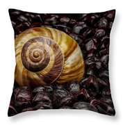 Snailshell In Tamarind Bed Throw Pillow