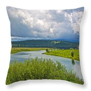 Snake River By Oxbow Bend In Grand Teton National Park-wyoming Throw Pillow