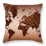 Snake Skin World Map Throw Pillow