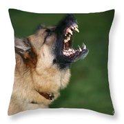 Snarling German Shepherd Dog Throw Pillow