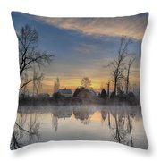 Dawn On The Snohomish Throw Pillow