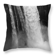 Snoqualmie Falls - Black And White Throw Pillow