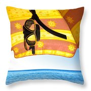Snorkeling Glasses Throw Pillow by Carlos Caetano