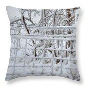 Snow - Ice - Fence Throw Pillow