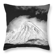 Snow And Clouds On Mt. Ngauruhoe 2 Throw Pillow