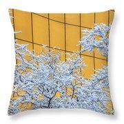 Snow And Golden Glass Throw Pillow