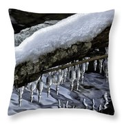 Snow And Icicles Merry Christmas Card Throw Pillow
