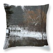 Snow And Stream Throw Pillow