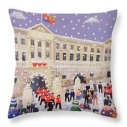 Snow At Buckingham Palace Throw Pillow by William Cooper