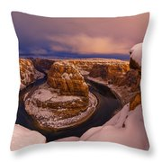 Snow At Horseshoe Bend Throw Pillow by Dustin  LeFevre