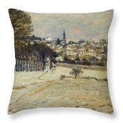Snow At Marly-le-roi Throw Pillow
