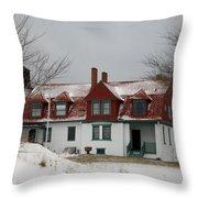 Snow At Point Betsie Throw Pillow