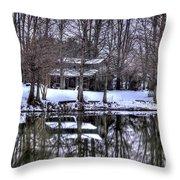 Snow Barn Throw Pillow