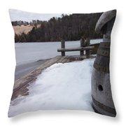 Snow Barrel Throw Pillow