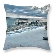 Snow Beach Throw Pillow