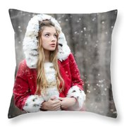 Snow Beauty In Red Throw Pillow
