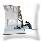 Snow Blower Throw Pillow