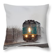 Passenger Train Blowing Snow On Curve Throw Pillow