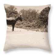 Snow Bound Horse Throw Pillow
