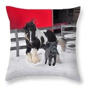 Snow Buddies Throw Pillow