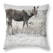 Snow By The Beach Throw Pillow
