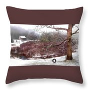 Snow Cabin And Tire Swing Throw Pillow