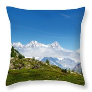 Snow-capped Mountain And Cloud Throw Pillow