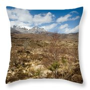 Snow Capped Sgurr Nan Fhir Duibhe Throw Pillow
