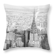 Snow - Chrysler Building And New York City Skyline Throw Pillow
