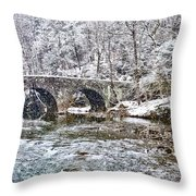 Snow Coming Down On The Wissahickon Creek Throw Pillow