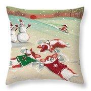 Snow Corgi Throw Pillow