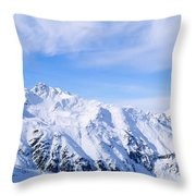Snow Covered Alps, Schonjoch, Tirol Throw Pillow