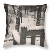Snow Covered Benches Throw Pillow