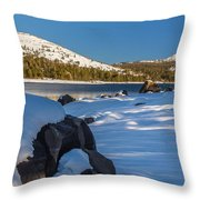 Snow Covered Boulder Throw Pillow