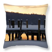 Snow Covered Docks Throw Pillow