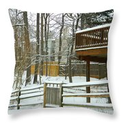 Snow Covered Fences Throw Pillow
