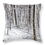 Snow Covered Forest 4 Throw Pillow