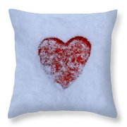 Snow-covered Heart Throw Pillow