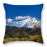 Snow Covered Mount Sopris With Golden Aspen Trees Throw Pillow