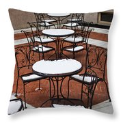 Snow Covered Patio Chairs And Tables Throw Pillow